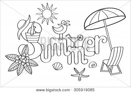 Hand Drawn Coloring Page For Adults And Children On Summer Theme: Tropical Flowers, Seagull, Beach B