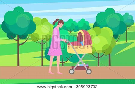 Mother And Kid Vector, Woman Walking With Perambulator And Child Sleeping In Pram, City Park With Bu