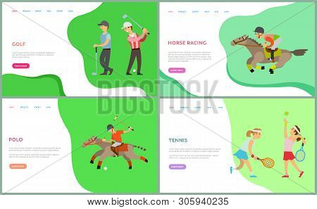 People In Sportswear Playing Golf, Tennis And Polo, Horse Racing. Sport Activity, Male And Female Ch