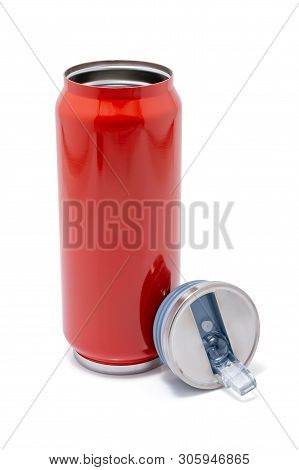 Red Thermos Bottle Opened Cap Or Stainless Steel Thermos Travel Tumbler