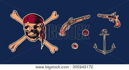 Pirate skull wearing bandana with crossbones and hand drawn sketch set illustration of buccaneer gun pistol and anchor. Vector filibuster drawing stickers isolated on navy background. poster