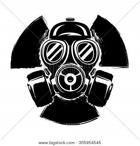 Sign Of Radioactivity With Gas Mask: The Concept Of Pollution And Danger. Gas Mask Grunge Vector Ill