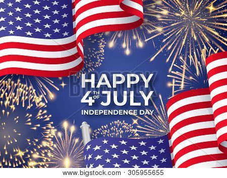 Usa Independence Day. Banner With Waving American National Flags And Fireworks. 4th Of July Poster T