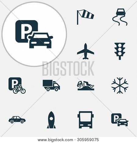 Shipment Icons Set With Dangerous, Parking, Car And Other Stoplight Elements. Isolated Vector Illust