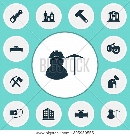 Industrial Icons Set With Miner, Sawing, High Rise Buildings And Other Sewerage Elements. Isolated V