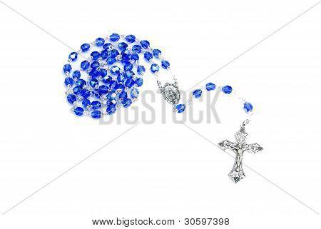 Rosary Blue On White