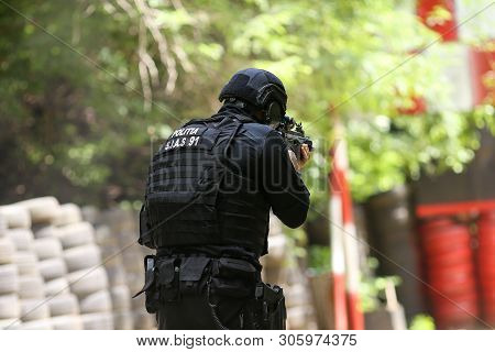 Bucharest, Romania - June 10, 2019: A Romanian Sias (equivalent Of Swat In The Us) Police Officer Tr