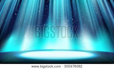 Empty Blue Scene With A Dark Background, Place Lit By Bright Cyan Spotlight, Falling Shiny Sparkling