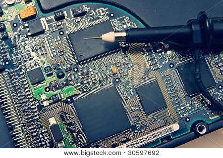 Oscilloscpe Probe On Electronic Circuit