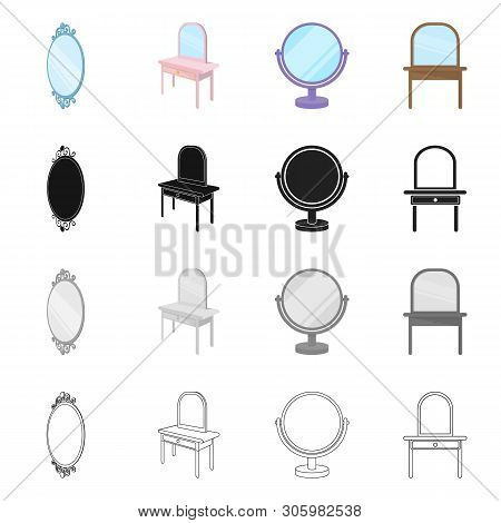 Vector Illustration Of Imagery And Decorative Symbol. Set Of Imagery And Silver Stock Symbol For Web