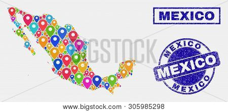 Vector Bright Mosaic Mexico Map And Grunge Seals. Abstract Mexico Map Is Composed From Scattered Bri