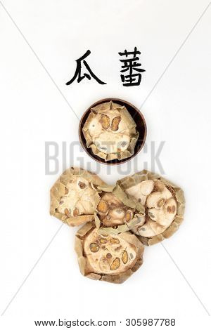 Chinese cucumber herb used in chinese herbal medicine with calligraphy script, used for chest & lung infection problems. Translation reads as chinese cucumber. Gua Lou. Fructus trichosanthis kirlowii.