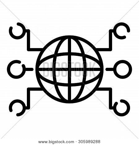 Globe And Remote Sites Icon. Outline Globe And Remote Sites Vector Icon For Web Design Isolated On W