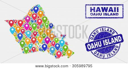 Vector Bright Mosaic Oahu Island Map And Grunge Watermarks. Abstract Oahu Island Map Is Designed Fro