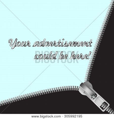 Beautiful Background Of Black And Gray Zipper Unzipped And Light Background For Text. Excellent As A
