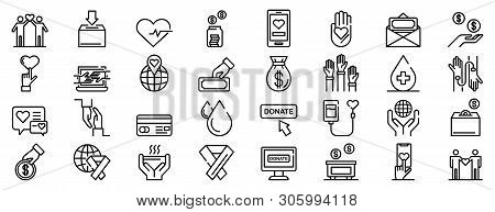 Donations Icons Set. Outline Set Of Donations Vector Icons For Web Design Isolated On White Backgrou