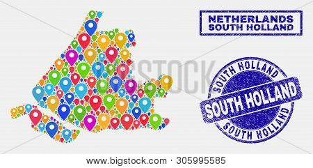 Vector Bright Mosaic South Holland Map And Grunge Watermarks. Abstract South Holland Map Is Created