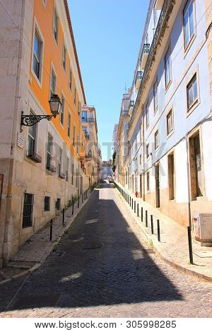 Alley In The Bairro Alto (old Town) In Lisbon, Portugal