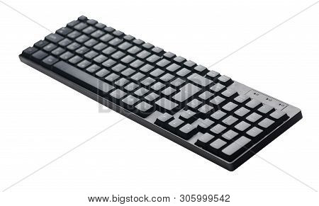 Computer Keyboard Isolated On White Background .back Computer Keyboard Top Side  View