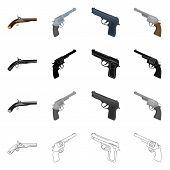 Vector design of revolver and pistol symbol. Collection of revolver and trigger stock symbol for web. poster