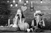 Farming teaches kids where their food comes from. Kids farmers girl boy vegetables harvest. Family farm. Siblings having fun. Children presenting farm harvest wooden background. Farm market poster