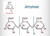 Amylose molecule. It is a polysaccharide and one of the two components of starch. Structural chemical formula poster