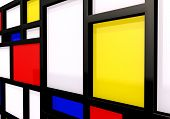 Abstract background with modernist wall or shelves poster
