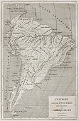 French explorer Paul Marcoy itinerary along Amazon river, old map. Created by Erhard, published on Le Tour Du Monde, Paris, 1867 poster