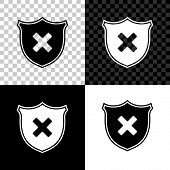 Shield and cross x mark icon isolated on black, white and transparent background. Denied disapproved sign. Protection, safety, security concept. Vector Illustration poster