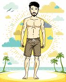 Handsome brunet man with beard and whiskers poses on tropical beach in shorts. Vector character. Summer holidays theme. poster