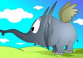Illustration of fantasy of a elephant in blue background poster