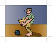 A boy yelps in pain after dropping a bowling ball on his toe. poster
