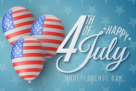 Happy Independence Day Brochure. 4th Of July. United States Of America Flag Pattern. Realistic Flyin