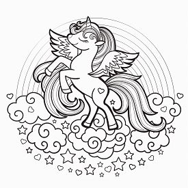 Cute Rainbow Unicorn. Black And White. Vector Illustration For Coloring Book. For Design Prints, Pos