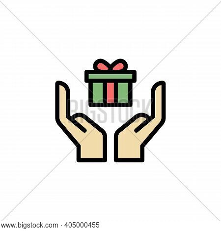 Hands With Mothers Day Gift Outline Icon. Element Of Mothers Day Illustration Icon. Signs And Symbol