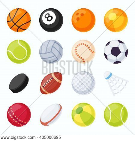 Sport Balls. Soccer, Tennis, Volleyball, Baseball And Football Equipment. Hockey Puck And Badminton