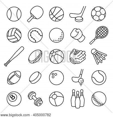 Ball Sports Line Icons. Outline Equipment For Football, Tennis, Badminton And Soccer, Baseball And B