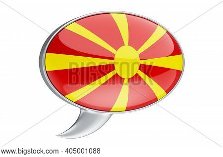 Speech Balloon With Macedonian Flag, 3d Rendering Isolated On White Background