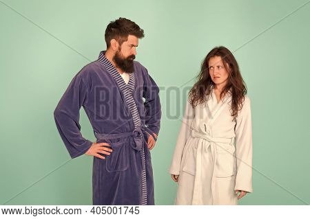 Being Sad Is A Choice. Couple In Love Look Sad. Sad Woman And Man Wear Bathrobes Blue Background. Fa