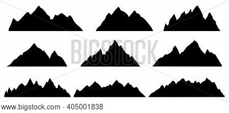 Mountain Silhouette. Rocky Range Landscape Shape. Hiking Mountains Peaks, Hills And Cliffs. Climbing