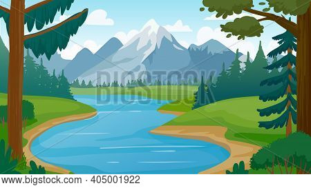 Mountain And Lake Landscape. Cartoon Rocky Mountains, Forest And River Scene. Wild Nature Summer Pan