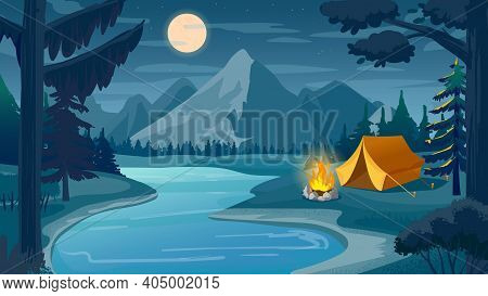 Mountain Night Camping. Cartoon Forest Landscape With Lake, Tent And Campfire, Sky With Moon. Hiking