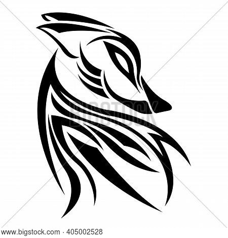 The Wolf Is Drawn With Various Black Lines In The Celtic Style. Design Suitable For Logo, Icon, Symb