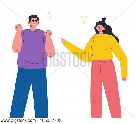 Young Aggressive Man Boyfriend And Woman Girlfriend Parents Yelling And Quarrel. The Psychological C