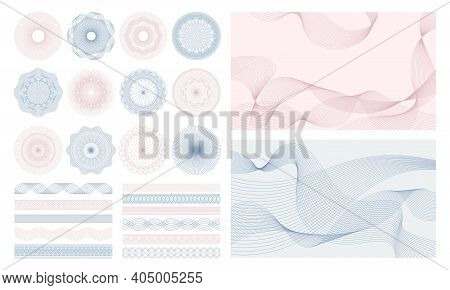 Money Watermark. Geometric Round, Spiral And Secure Guilloches For Passport Or Cheque. Spirograph Pa