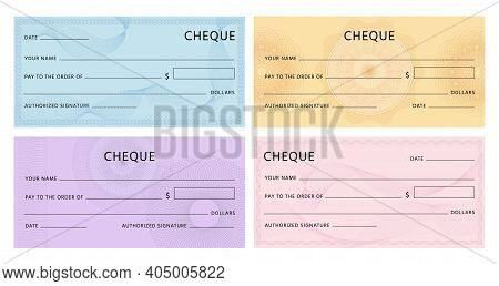 Cheque With Guilloche. Bank Chequebook Template. Blank Mockup For Banknote Voucher With Spirograph W
