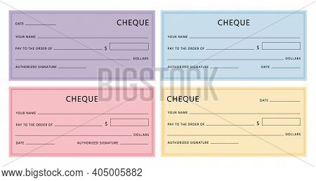 Cheque Template. Blank Checkbook Pages Mockups With Empty Fields. Bank Check Designs With Borders. C
