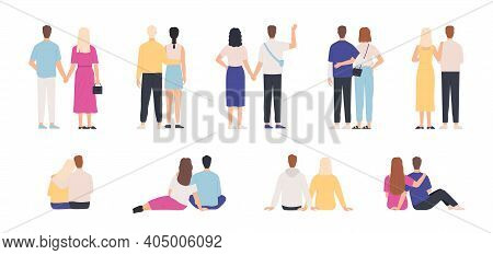Couple Back View. Couples Hugging, Standing And Sitting Together, Holding Hands. Man And Woman On Da