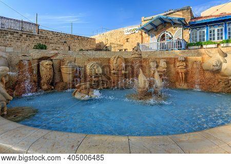 Tel Aviv, Israel - December 28, 2015: The Zodiac Fountain In Kedumim Square In Old Jaffa