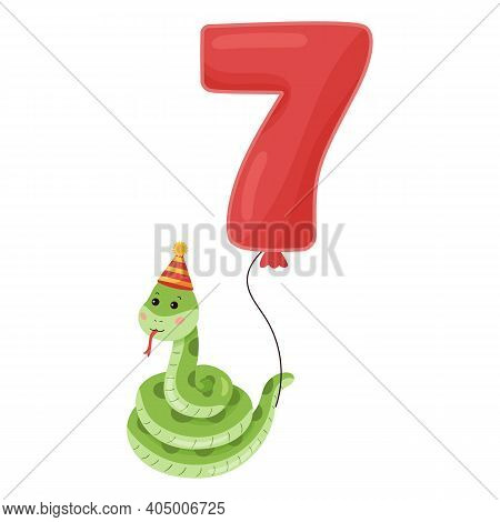 Cute Cartoon Snake With Balloon Number. Happy Birthday Illustration For Greeting Card. For Seven Yea